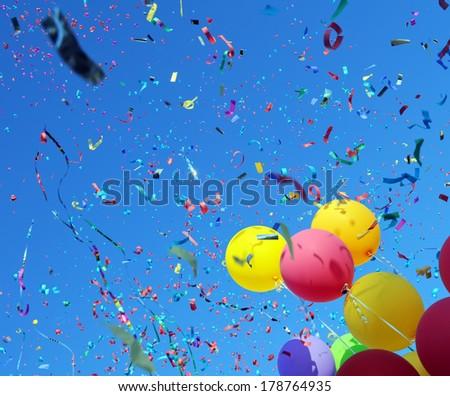 multicolored balloons and confetti in the city festival #13 - stock photo