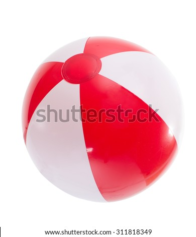 multicolored beach ball. Isolation.series of images - stock photo