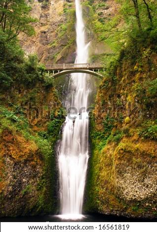 Multnomah falls near portland - stock photo