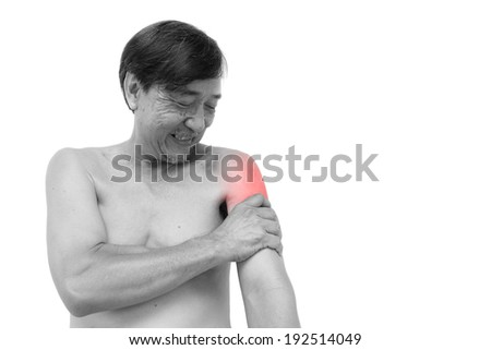 """Muscle strain""  Old aged thai man grasp his arm. And blank area at right side"