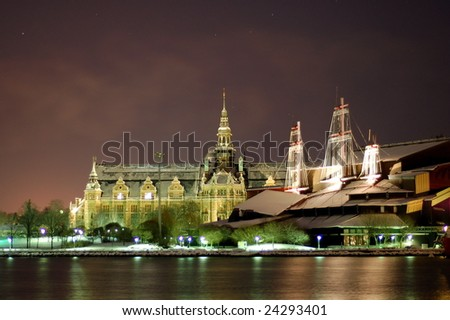 2 museums in Stockholm by night - stock photo