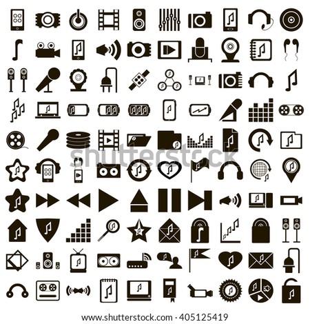 100 music icons - stock photo