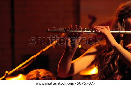 musical  performance in underground club, blur in moving - stock photo