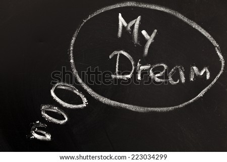 """my dream"" handwritten with white chalk on a blackboard  - stock photo"