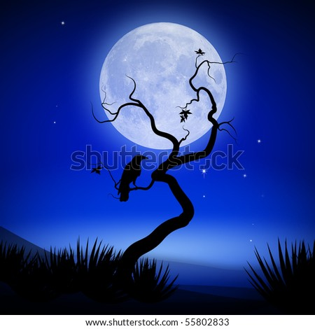 Mystical night with full moon, tee and raven - stock photo