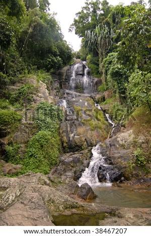 """""""Na Muang"""" Waterfall Koh Samui Thailand - stock photo"""