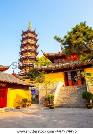 NANJING,JIANGSU/CHINA-APR9: Jiming Temple on Apr9,2015 in Nanjing, Jiangsu, China. Temple was founded nearly 1,500 years ago during the Liang dynasty. Some buildings were rebuilt began in the 1980s. - stock photo