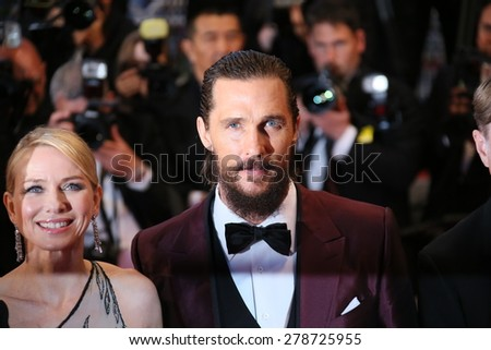 Naomi Watts and Matthew McConaughey attend the premiere of 'The Sea Of Trees' during the 68th annual Cannes Film Festival on May 16, 2015 in Cannes, France. - stock photo