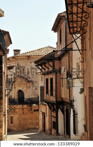 Narrow street in the old town of Palma de Mallorca, Spain - stock photo