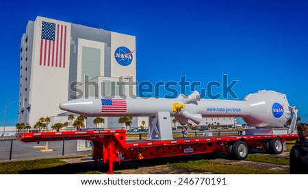 [2014-12-14] NASA Vehicle Assembly Building, Orlando, Florida on a sunny day. This building is used to assemble large American manned rockets and will be used to launch upcoming Space Launch System - stock photo