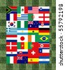 32 National flag football 2010 Pattern on the grass - stock photo