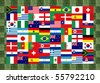 32 National flag football world 2010 Pattern on the grass - stock photo
