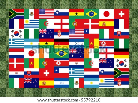 32 National flag football world 2010 Pattern on the grass
