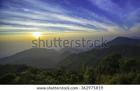 natural beauty of the hill at sunrise Doi Ang Khang mountains Chiang Mai Thailand - stock photo