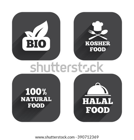 100% Natural Bio food icons. Halal and Kosher signs. Chief hat with fork and spoon symbol. Square flat buttons with long shadow.