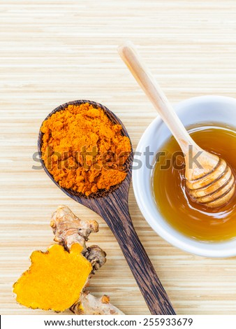 Natural Spa Ingredients . - Turmeric and honey  for skin care. - stock photo