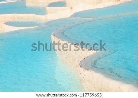 Natural travertine pools and terraces, Pamukkale, Turkey - stock photo