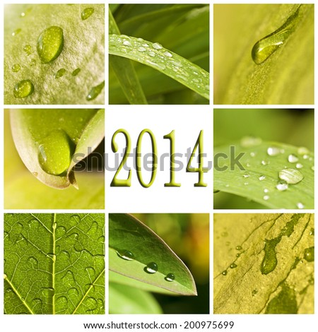 2014, nature green collage - stock photo