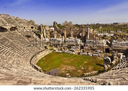 2nd Century AD Roman theater in Side, Turkey. - stock photo