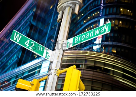 42nd street and Broadway intersection in New York's Times Square - stock photo