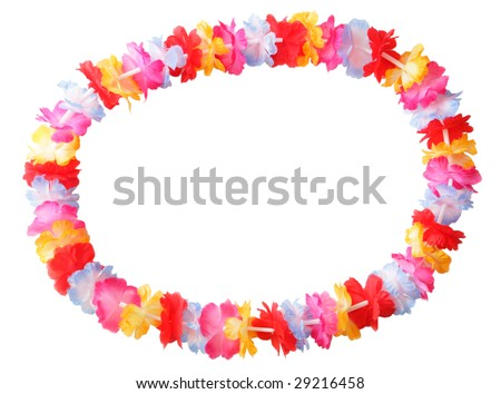 Necklace of bright colorful flowers lei isolated on white - stock photo