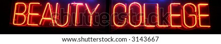 """""""neon sign series"""" """"beauty college"""" - stock photo"""
