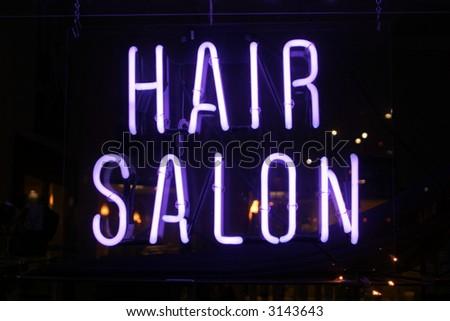 """""""neon sign series"""" """"hair salon"""" - stock photo"""