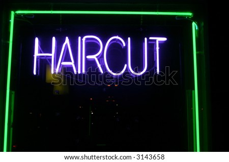 """neon sign series"" haircut"
