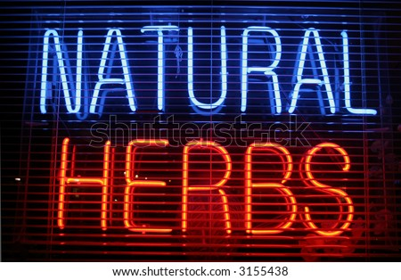"""neon sign"" series ""natural herbs"""