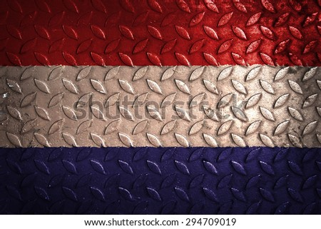 netherland flag,metal texture - stock photo
