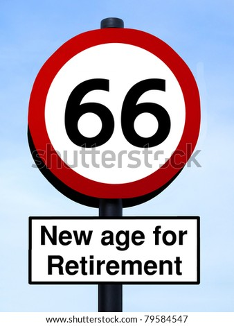 66 new age for retirement roadsign against a blue sky - stock photo