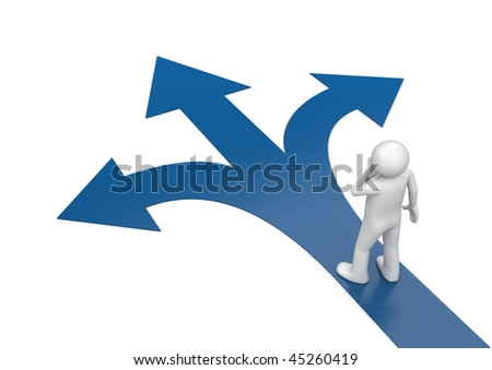 2010 new choose your way 1 (3d isolated characters, business series) - stock photo