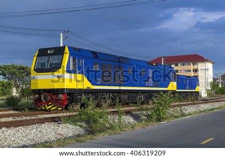 2 New diesel locomotive park - stock photo