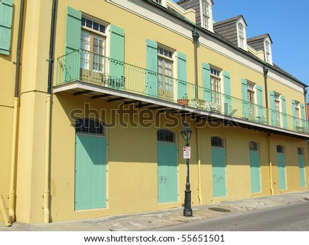 New Orleans French Quarter 4 block - stock photo