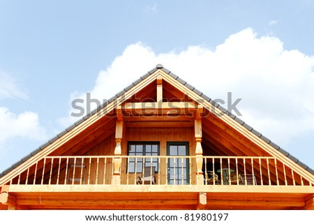 New wooden roof. - stock photo