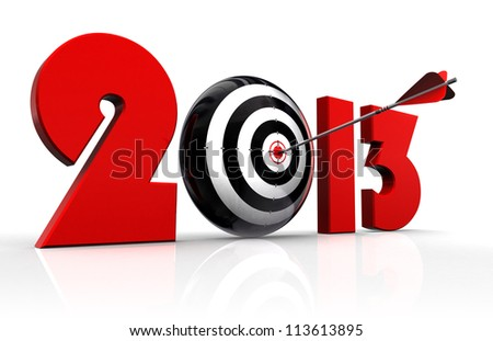 2013 new year and conceptual target with arrow in white background. clipping path included - stock photo