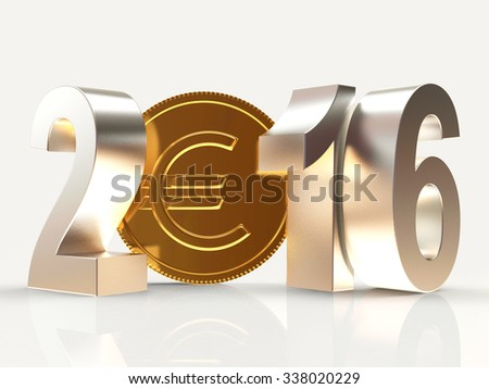 2016 New Year and golden coin with EURO sign isolated on white background - stock photo