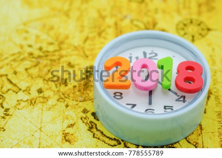 Christmas maps ornaments world stock images royalty free images 2018 new year and time concept close up of colorful plastic number on vintage round gumiabroncs Choice Image