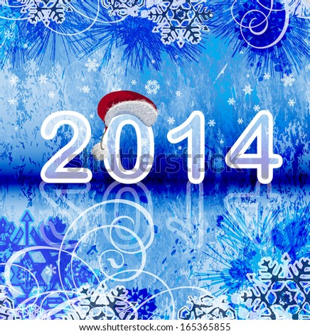 2014 - New year background. Raster version of vector illustration. - stock photo