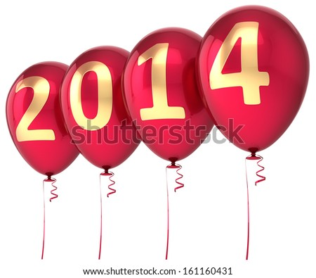 2014 New Year balloons party decoration. Christmas celebration helium balloon red gold text. Future calendar date greeting card banner design element. Detailed 3d render. Isolated on white background - stock photo