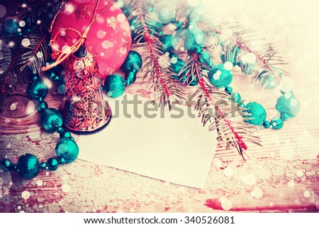 2016 new year blue silver ornaments beaded necklace and christmas balls for Christmas tree on wooden background table with copy space