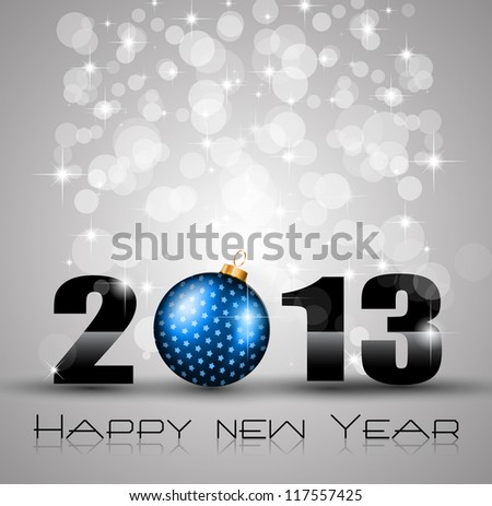 2013 New Year Celebration Background with Glitter and Rainbow Colours - stock photo