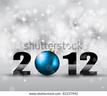 2012 New Year Celebration Background with Glitters and stars - stock photo
