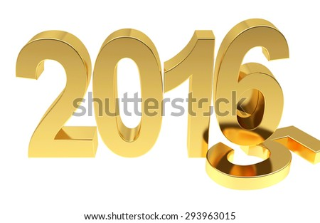 2016 New Year change concept 3D. - stock photo