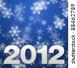 2012 New year christmas background with snow flakes - stock photo
