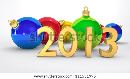 2013 new year, christmas balls - stock photo