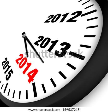 2014 New Year clock - stock photo