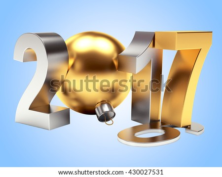 2017 New Year concept. 2016 changed to 2017 on blue background. 3D illustration