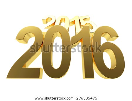 2016 New Year concept. 2015 changed to 2016 on white background  - stock photo