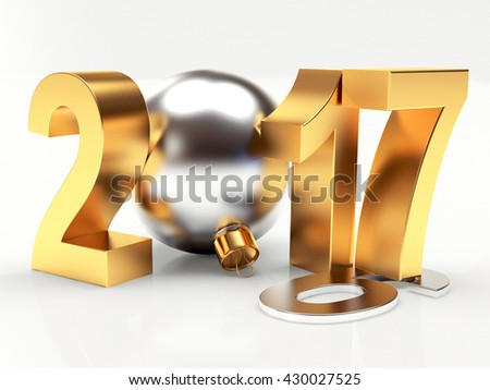 2017 New Year concept. 2016 changed to 2017 on white background. 3D illustration - stock photo
